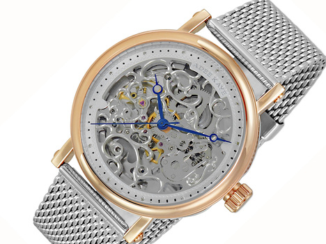 20 JEWELS SKELETON AUTOMATIC, STAINLESS STEEL - MESH BAND, AK6463-MRG2SV-MESH, RETAIL AT (MSRP: $675.00)