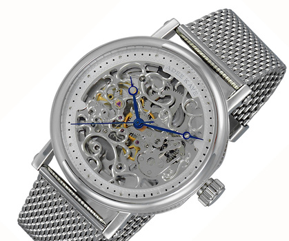 20 JEWELS SKELETON AUTOMATIC, STAINLESS STEEL - MESH BAND, AK6463-MSV-MESH, RETAIL AT (MSRP: $675.00)