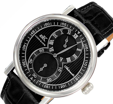20-Jewels TY2708  Automatic Regulator Movement , Genuine leather band, AK5665-MBK - Retail price at $600.00