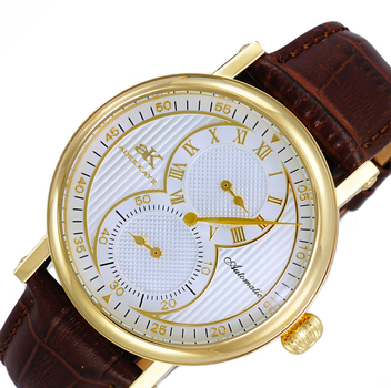 20-Jewels TY2708  Automatic Regulator Movement , Genuine leather band, AK5665-MGSV_BN - Retail price at $600.00