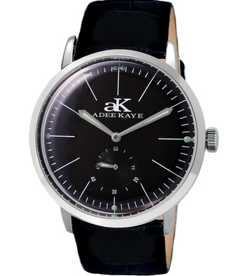 21 JEWELS AUTOMATIC MECHANICAL , DOME CRYSTAL AND GENUINE LEATHER BAND, AK9044-MBK_LB  RETAIL AT $600.00