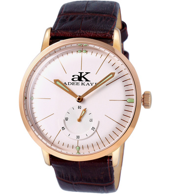 21 JEWELS AUTOMATIC MECHANICAL , DOME CRYSTAL AND GENUINE LEATHER BAND, AK9044-MRGSV_LB  RETAIL AT $600.00