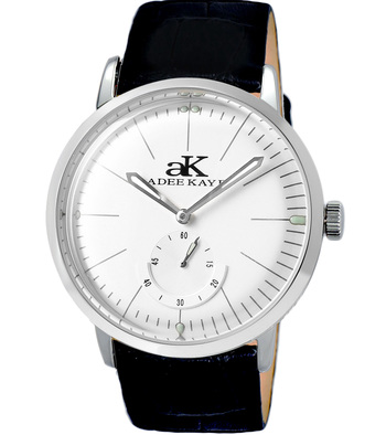 21 JEWELS AUTOMATIC MECHANICAL , DOME CRYSTAL AND GENUINE LEATHER BAND, AK9044-MSV_LB  RETAIL AT $600.00