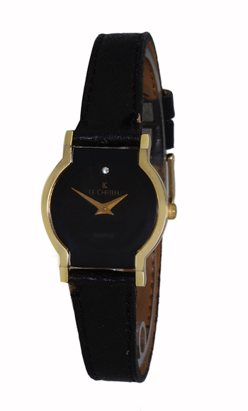 2-HANDS DIAL, GOLD TONE, GENUINE LEATHER BAND, LC1027-LGBK, Retail at $245.00