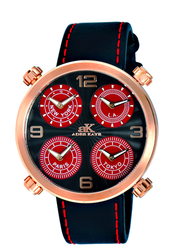 4-TIME ZONE WATCH, DOUBLE LAYER DIAL, GENUINE LEATHER BAND, AK2275-MRG/RD, RETAIL AT $525.00