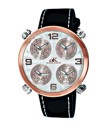 4-TIME ZONE WATCH, DOUBLE LAYER DIAL, GENUINE LEATHER BAND, AK2275-MRG/WHT, RETAIL AT $525.00