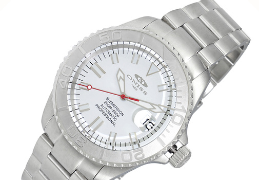 AUTOMATIC MOVEMENT - 21 JEWELS, WHITE SUN RAY - DATE, ALL STAINLESS STEEL CASE AND BAND, ON5515-33-WT - RETAIL AT (MSRP: $695.00)