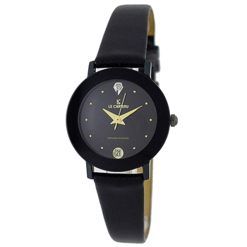 Le Chateau Women's Round, Dome, Genuine Diamond, Black Tone Stainless Steel & Leather Watch (MSRP: $425.00)