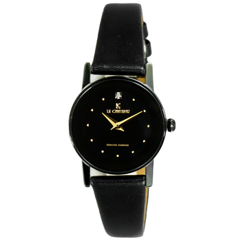 Le Chateau Women's Genuine Diamond Round Stainless Steel & Leather Watch  (MSRP: $445.00)