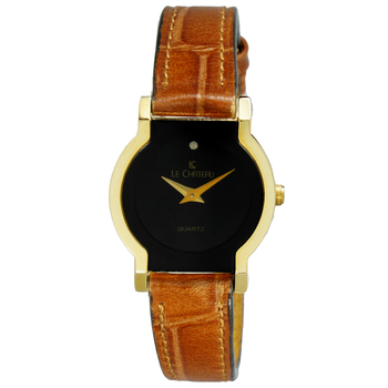 Le Chateau Women's Swiss 2 Hand Stainless Steel & Textured Brown Leather Watch  (MSRP: $445.00)