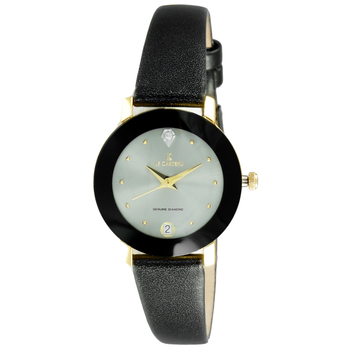 Le Chateau Women's Round, Dome, Genuine Diamond, Gold Tone Stainless Steel & Leather Watch (MSRP: $425.00)