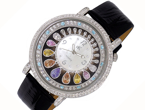 MULTI-COLOR STONES, MOTHER OF PEARL 3-HANDS DIAL, AK2112-L RETAIL AT (MSRP: 345.00)