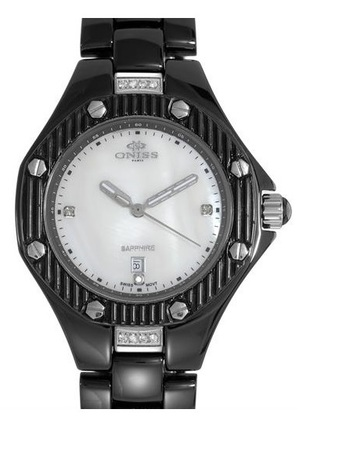 ONISS PARIS Collection Brand New Date Watch With Precious Stones - Genuine Crystals, Diamonds and Mother of pearls. ON8200-LBK - RETAIL AT $712.50