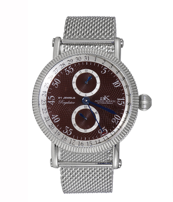 21 JEWELS AUTOMATIC MECHANICAL , DOME CRYSTAL AND GENUINE LEATHER BAND, AK3013-MBN/MESH  RETAIL AT $600.00