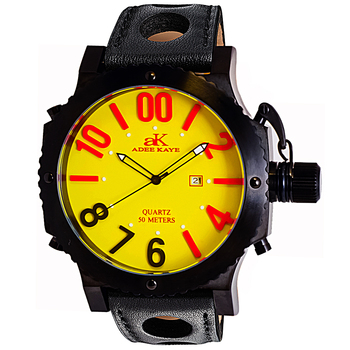 SUPER LUMINOVA DIAL WITH CROWN PROTECTOR, GENUINE LEATHER BAND, AK7211-MIP/YEL - RETAIL AT $445.00