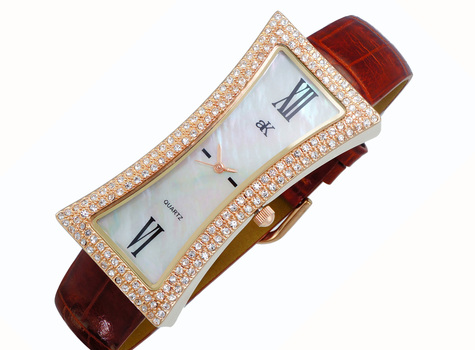 Mother of Pearl Dial, Genuine Leather Band, AK9715-LRGBN, Retail at $300.00