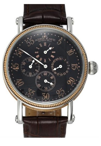 Gents 40 Jewels Automatic, 2-Time Zone Power Reserve Retrograde Date, AK5003-MRGBK - RETAIL AT $625.00