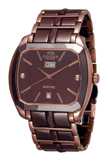 SWISS QUARTZ -DATE MOVEMENT, BROWN HIGH TECH CERAMIC & STAINLESS STEEL ,  ON605-MIPBN, RETAIL AT $575.00