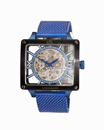 Adee Kaye Men's 24 Jewel Automatic Movement, Skeletal Design, Mesh Band, AK7474-50BUC-BKBZ, (Blue tone case/Black bezel/Blue tone strap) RETAIL AT $745.00