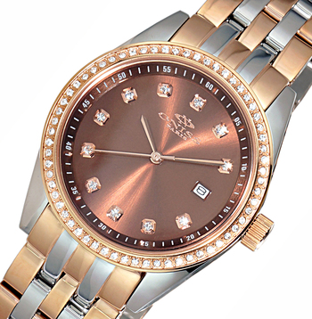 All Stainless Steel-Sunray Dial Watch w/ Austrian Crystal-Bezel Setting-2 TONE  Rose/Rose tone Dial, ON6668-LTTRG-BN -RETAIL AT $495.00
