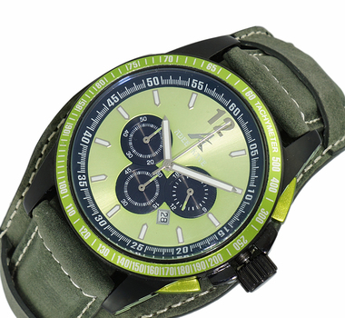 CHRONOGRAPH MOV'T, SUN RAY GREEN DATE-DIAL  GREEN-WIDE GEANUINE LEATHER BAND,  DAY-DATE COUNTER, AK7141-GN-GNWIDE, RETAIL AT $750.00.00