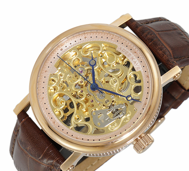 20 JEWELS SKELETON AUTOMATIC, BROWN GENUINE LEATHER BAND, AK6463-MRG-BN, RETAIL AT $675.00