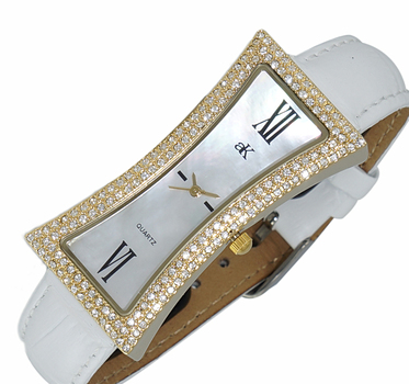 Women's Gold tone & White Mother of Pearl Dial w/ Genuine Leather Crystal Embellished Watch, AK9715-LGWT - RETAIL AT $300.00