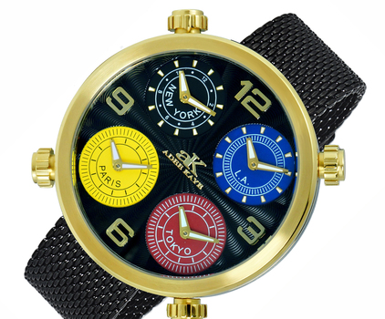4-TIME ZONE WATCH, DOUBLE LAYER DIAL, MESH BAND, AK2275-MGBK_IPB-MESH, RETAIL AT $625.00