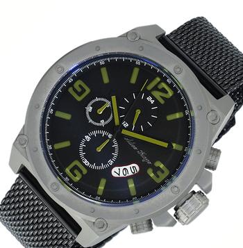 Men's  Chronograph Watch-Gray tone/Black-green dial/Black-IP metal tone mesh strap,  AK8896-MTGN-IPBK/MESH  - RETAIL AT (MSRP: $625.00)