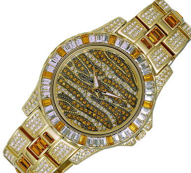 GOLD TONE, MULTI-COLORED STONE (YELLOW- WHITE) QUARTZ MOV'T, AK1177Y - RETAIL AT (MSRP: $545.00)
