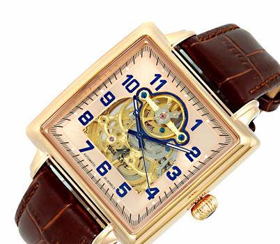 Adee Kaye Men's Skeletal Automatic Stainless Steel & Leather Watch-Rose tone/Brown AK8022-MRG-BNL - Retail at $495.00