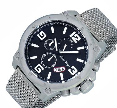 Adee Kaye Men's  S.S. Chronograph Watch-Gray tone/Black-green dial/Gun metal tone mesh strap,  AK8896-MTBK-MESH (Brand New)