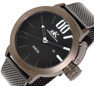Adee Kaye Men's Stainless Steel Mesh Watch with Crown Protector-AK7285-IPGN-BK-GNMESH, RETAIL AT $575.00