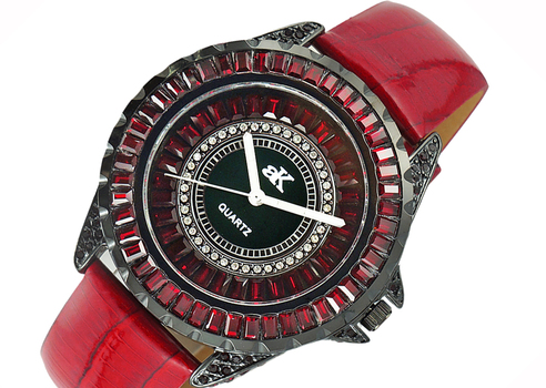 ADEE KAYE MID SIZE, BLACK IP CASE, 3 - HANDS COLRED STONE (RED), AK2727-B - RETAL AT (MSRP: $ 225.00