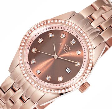 All Stainless Steel-Sunray Dial Watch w/ Austrian Crystal-Bezel Setting-Rose tone/Brown Dial, ON6668-LRG-BN - RETAIL AT $495.00