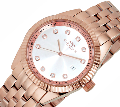 All Stainless Steel-Sunray Dial Watch w/ Ridged Bezel Design-Rose tone/Silver dial, ON6669-LRG-SVD - RETAIL AT $475.00
