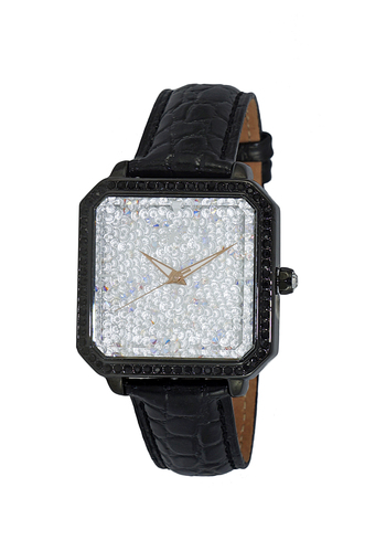 ALL WHITE CRYSTAL ACCENT 3-HANDS DIAL, AK9112-LIPB-WTRG-BKL, RETAIL AT $350.00
