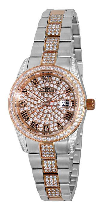 AUSTRIAN CRYSTAL, 2-TONE, PAVE DIAL, JAPAN QUARTZ MOV'T. , ON3880-2TRG -  RETAIL AT $500.00