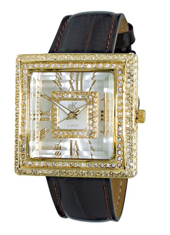 AUSTRIAN CRYSTAL, 3D DIAL, GENUINE LEATHER BAND, AK25-LG - RETAIL AT $470.00
