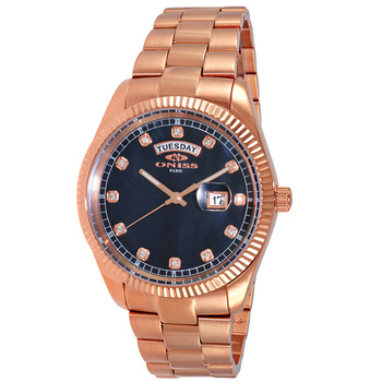 AUSTRIAN CRYSTAL ACCENT, DAY-DATE WITH BLACK MOTHER OF PEARL DIAL , ON3881-RGBK , RETAIL AT $325.00