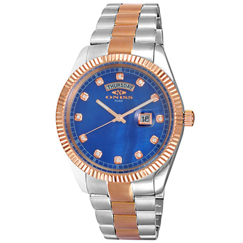 AUSTRIAN CRYSTAL ACCENT, DAY-DATE WITH BLUE MOTHER OF PEARL DIAL , ON3881-2TRGBU , RETAIL AT $325.00