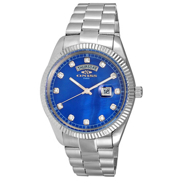 AUSTRIAN CRYSTAL ACCENT, DAY-DATE WITH BLUE MOTHER OF PEARL DIAL , ON3881-MBU , RETAIL AT $325.00
