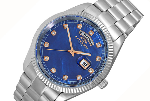 AUSTRIAN CRYSTAL ACCENT, DAY-DATE WITH BLUE MOTHER OF PEARL DIAL , ON3881-MBURG , RETAIL AT $325.00