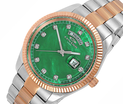 AUSTRIAN CRYSTAL ACCENT, DAY-DATE WITH GREEN MOTHER OF PEARL DIAL , ON3881-2TRG/GN-SV , RETAIL AT $325.00