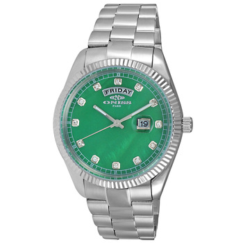 AUSTRIAN CRYSTAL ACCENT, DAY-DATE WITH GREEN MOTHER OF PEARL DIAL , ON3881-MGN , RETAIL AT $325.00
