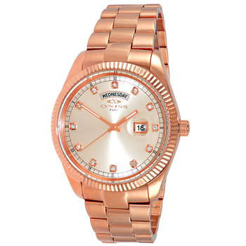 AUSTRIAN CRYSTAL ACCENT, DAY-DATE WITH SUN RAY ROSE DIAL , ON3881-RGRG , RETAIL AT $325.00