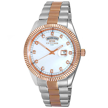 AUSTRIAN CRYSTAL ACCENT, DAY-DATE WITH WHITE MOTHER OF PEARL DIAL , ON3881-2TRGWT , RETAIL AT $325.00