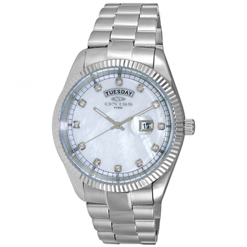 AUSTRIAN CRYSTAL ACCENT, DAY-DATE WITH WHITE MOTHER OF PEARL DIAL , ON3881-MWT , RETAIL AT $325.00