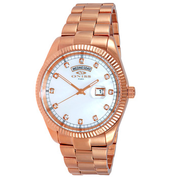 AUSTRIAN CRYSTAL ACCENT, DAY-DATE WITH WHITE MOTHER OF PEARL DIAL , ON3881-RGWT , RETAIL AT $325.00