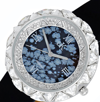 AUSTRIAN CRYSTAL ACCENT, GENUINE LEATHER BAND- BLACK SUEDE, AK9710-LBK , RETAIL AT $475.00